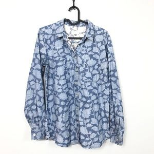 LOFT Softened Floral Chambray Button Down Shirt XS